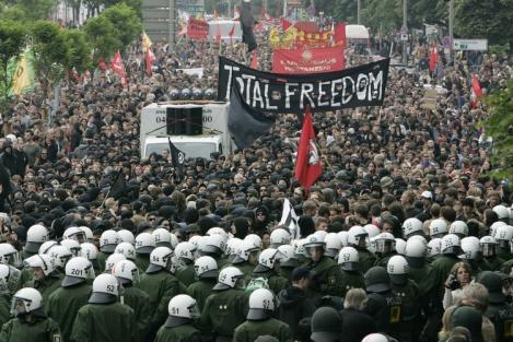 Protesters face off against police at the 2007 G8 summit